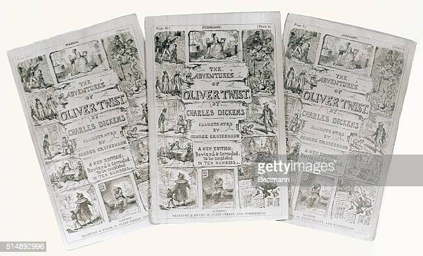 Group of installments illustrated by Cruichshank of Charles Dickens Oliver Twist