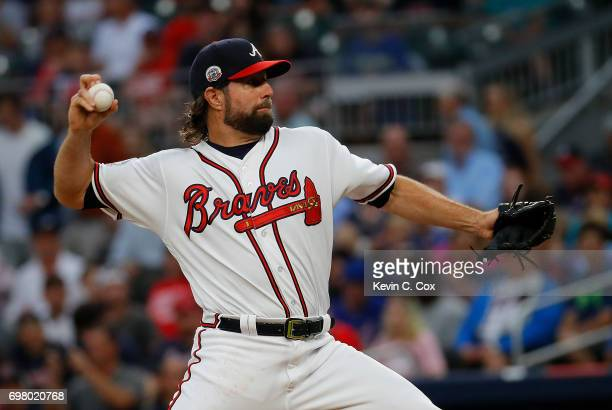 A Dickey of the Atlanta Braves pitches in the first inning against the San Francisco Giants at SunTrust Park on June 19 2017 in Atlanta Georgia
