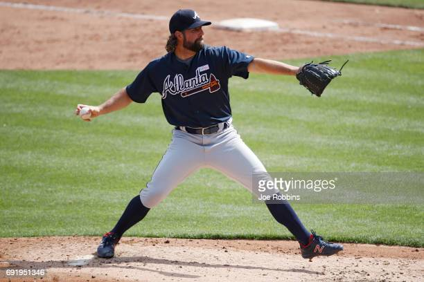 A Dickey of the Atlanta Braves pitches in the second inning of a game against the Cincinnati Reds at Great American Ball Park on June 3 2017 in...