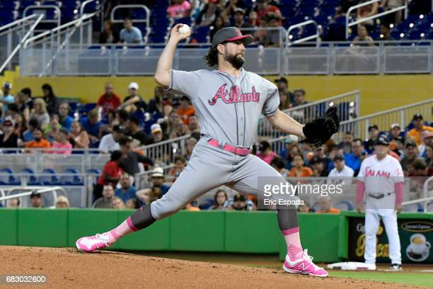A Dickey of the Atlanta Braves throws a pitch during the first inning against the Miami Marlins at Marlins Park on May 14 2017 in Miami Florida...