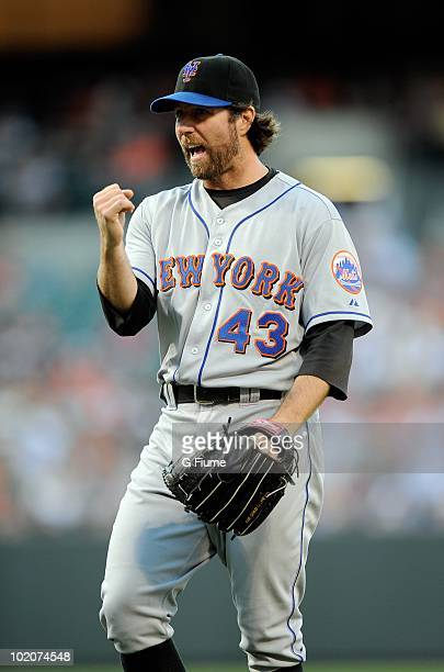 A Dickey of the New York Mets celebrates a strike out against the Baltimore Orioles at Camden Yards on June 11 2010 in Baltimore Maryland