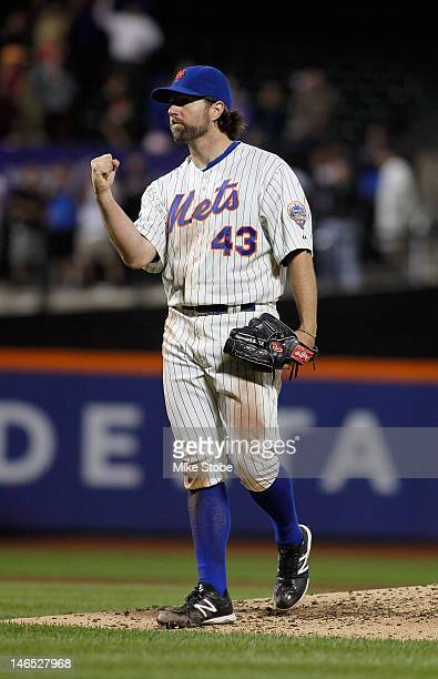 A Dickey of the New York Mets celebrates after pitching a complete game one hitter against the Baltimore Orioles at Citi Field on June 18 2012 in the...
