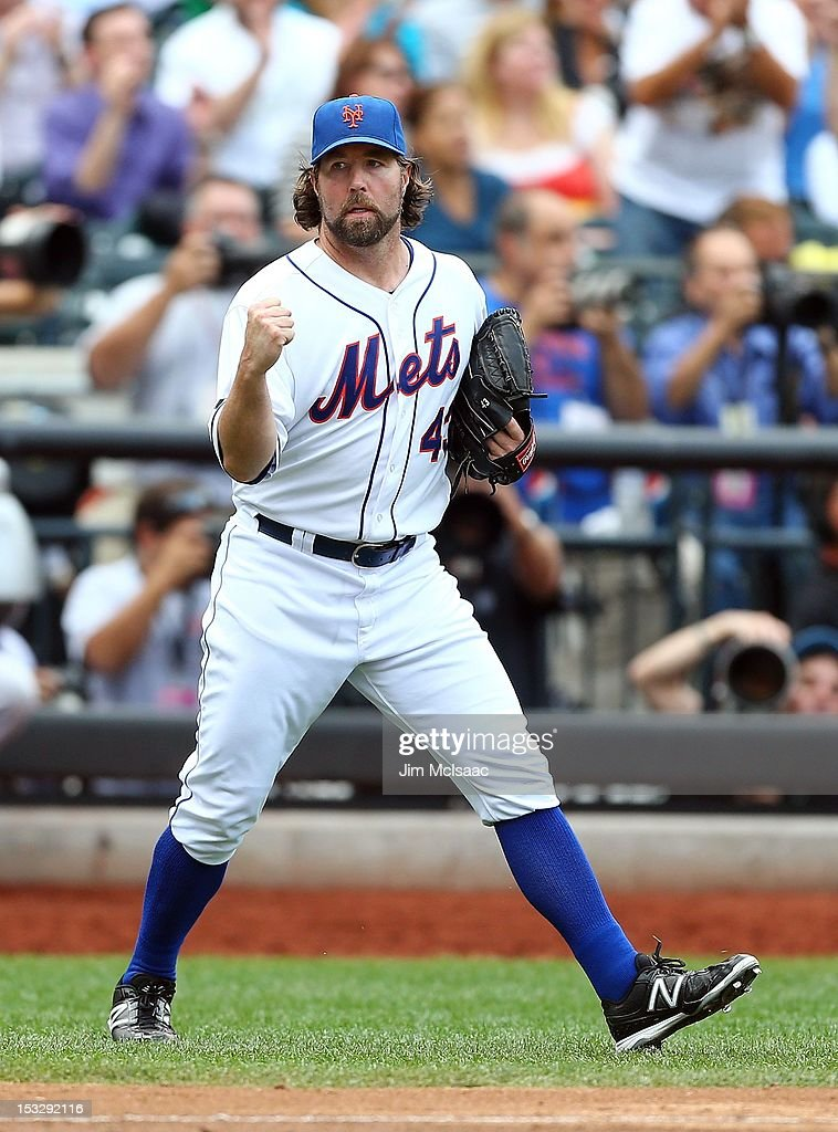 R.A. Dickey #43 of the New York Mets celebrates the final out of the seventh inning against the Pittsburgh Pirates at Citi Field on September 27, 2012 in the Flushing neighborhood of the Queens borough of New York City. The Mets defeated the Pirates 6-5..