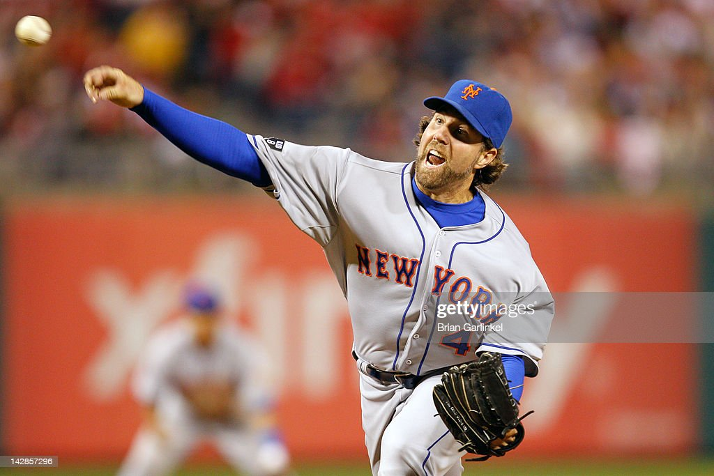 <a gi-track='captionPersonalityLinkClicked' href=/galleries/search?phrase=R.A.+Dickey&family=editorial&specificpeople=221719 ng-click='$event.stopPropagation()'>R.A. Dickey</a> #43 of the New York Mets delivers a pitch during the game against the Philadelphia Phillies at Citizens Bank Park on April 13, 2012 in Philadelphia, Pennsylvania. The Mets won 5-2.