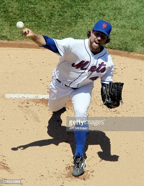 A Dickey of the New York Mets in action against the Los Angeles Dodgers at Citi Field on May 8 2011 in the Flushing neighborhood of the Queens...