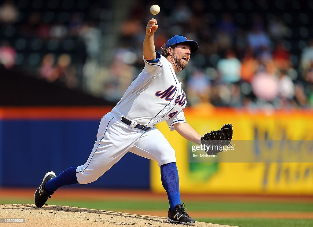 R.A. Dickey #43 of the New York Mets in action against the Pittsburgh Pirates at Citi Field on September 27, 2012 in the Flushing neighborhood of the Queens borough of New York City. The Mets defeated the Pirates 6-5.