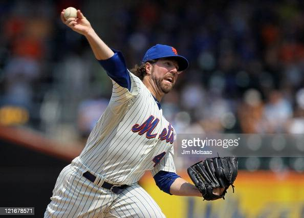 A Dickey of the New York Mets pitches against the Milwaukee Brewers at Citi Field on August 21 2011 in the Flushing neighborhood of the Queens...