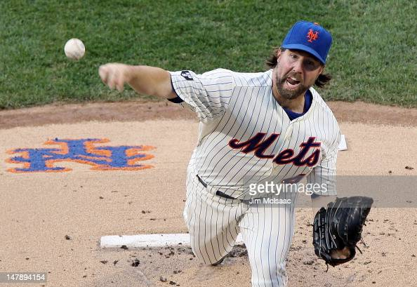 A Dickey of the New York Mets pitches in the first inning against the Philadelphia Phillies at Citi Field on July 5 2012 in the Flushing neighborhood...