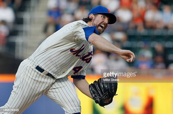 A Dickey of the New York Mets pitches in the firstinning against the Baltimore Orioles at Citi Field on June 18 2012 in the Flushing neighborhood of...