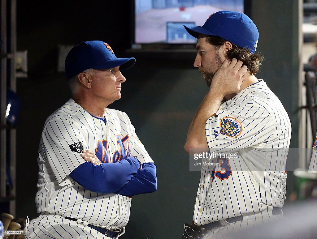 <a gi-track='captionPersonalityLinkClicked' href=/galleries/search?phrase=R.A.+Dickey&family=editorial&specificpeople=221719 ng-click='$event.stopPropagation()'>R.A. Dickey</a> #43 of the New York Mets talks with manager <a gi-track='captionPersonalityLinkClicked' href=/galleries/search?phrase=Terry+Collins&family=editorial&specificpeople=2593404 ng-click='$event.stopPropagation()'>Terry Collins</a> after the seventh inning against the Philadelphia Phillies at Citi Field on September 17, 2012 in the Flushing neighborhood of the Queens borough of New York City.