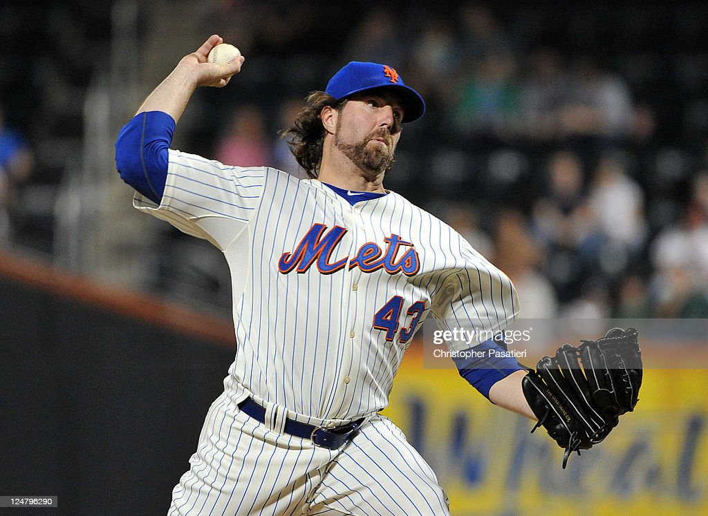 <a gi-track='captionPersonalityLinkClicked' href=/galleries/search?phrase=R.A.+Dickey&family=editorial&specificpeople=221719 ng-click='$event.stopPropagation()'>R.A. Dickey</a> #43 of the New York Mets throws a pitch during the game against the Washington Nationals at Citi Field on September 12, 2011 in the Flushing neighborhood of the Queens borough of New York City.