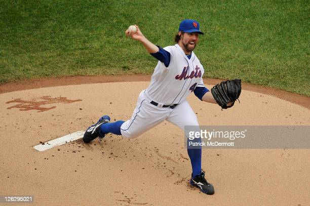 A Dickey of the New York Mets throws a pitch in the first inning against the Philadelphia Phillies at Citi Field on September 24 2011 in the Flushing...