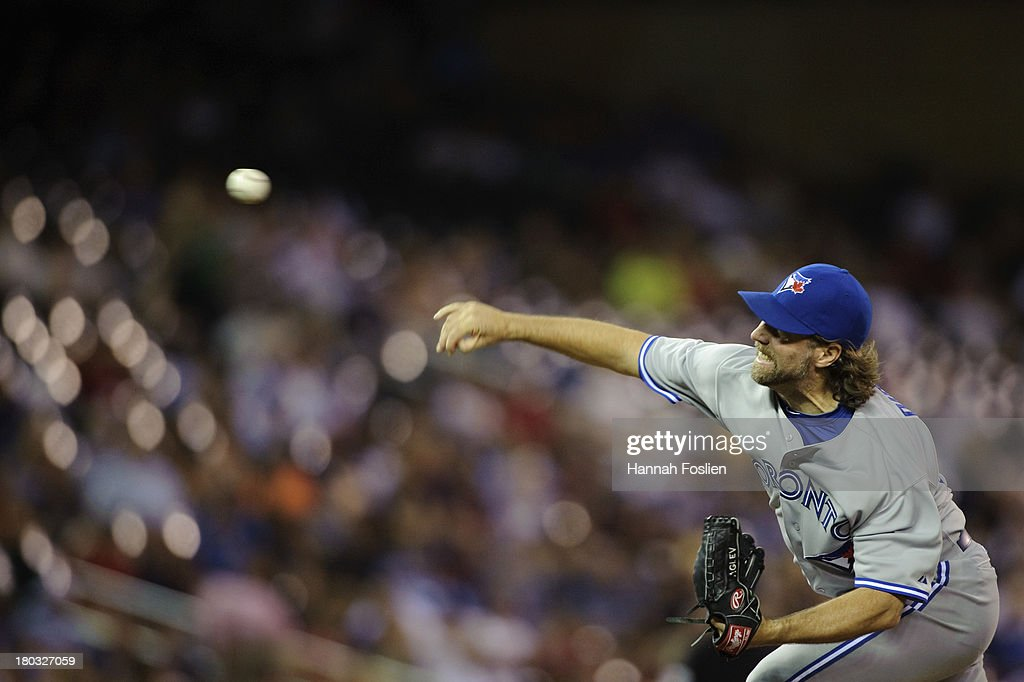 R.A. Dickey #43 of the Toronto Blue Jays delivers a pitch against the Minnesota Twins during the game on September 6, 2013 at Target Field in Minneapolis, Minnesota.