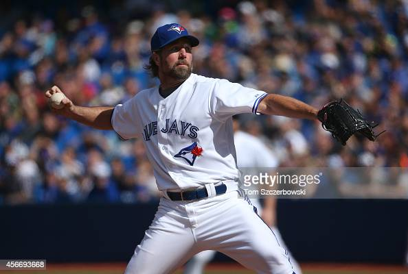 A Dickey of the Toronto Blue Jays delivers a pitch during MLB game action against the Baltimore Orioles on September 28 2014 at Rogers Centre in...