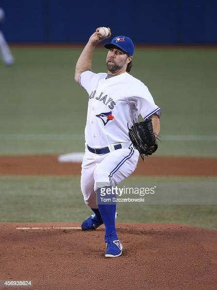 A Dickey of the Toronto Blue Jays delivers a pitch in the first inning during MLB game action against the Seattle Mariners on September 23 2014 at...