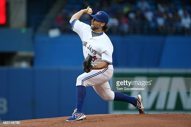 A Dickey of the Toronto Blue Jays delivers a pitch in the first inning during MLB game action against the Oakland Athletics on August 12 2015 at...