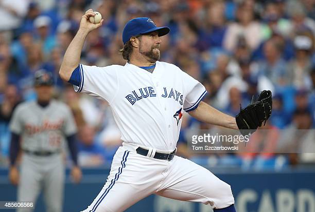 A Dickey of the Toronto Blue Jays delivers a pitch in the first inning during MLB game action against the Detroit Tigers on August 28 2015 at Rogers...