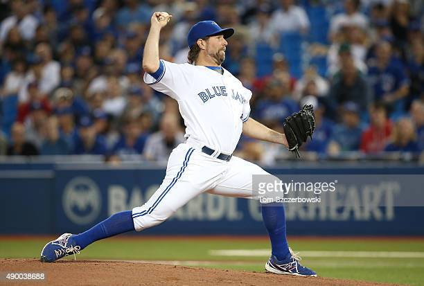 A Dickey of the Toronto Blue Jays delivers a pitch in the first inning during MLB game action against the Tampa Bay Rays on September 25 2015 at...