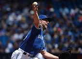 A Dickey of the Toronto Blue Jays delivers a pitch in the first inning during MLB game action against the Seattle Mariners on July 23 2016 at Rogers...