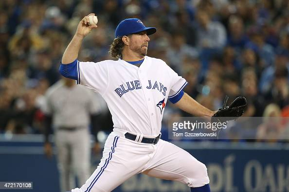 A Dickey of the Toronto Blue Jays delivers a pitch in the second inning during MLB game action against the New York Yankees on May 4 2015 at Rogers...