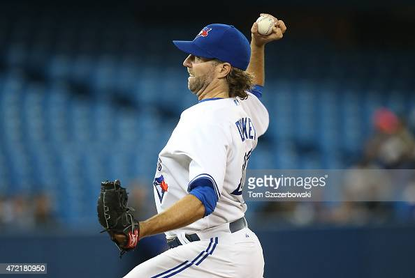 A Dickey of the Toronto Blue Jays delivers a pitch in the third inning during MLB game action against the New York Yankees on May 4 2015 at Rogers...