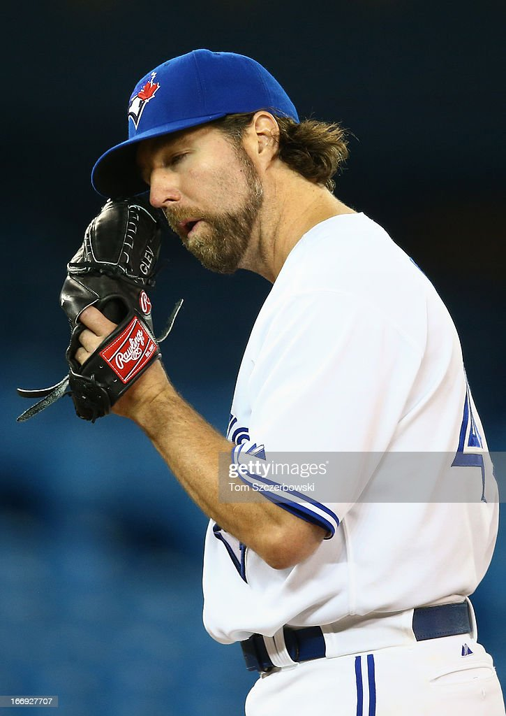 R.A. Dickey #43 of the Toronto Blue Jays during MLB game action against the Chicago White Sox on April 18, 2013 at Rogers Centre in Toronto, Ontario, Canada.