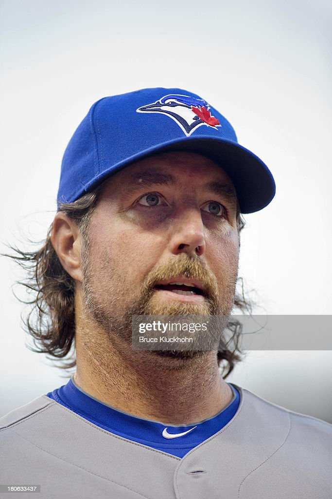 R.A. Dickey #43 of the Toronto Blue Jays gets ready to play against the Minnesota Twins on September 6, 2013 at Target Field in Minneapolis, Minnesota. The Blue Jays win 6-5.