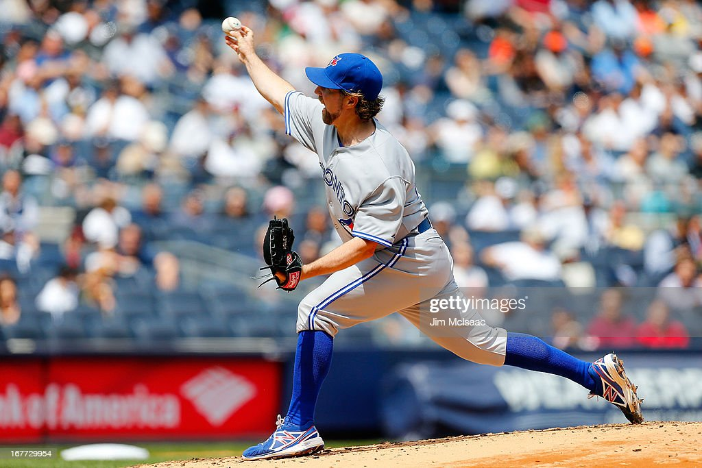 <a gi-track='captionPersonalityLinkClicked' href=/galleries/search?phrase=R.A.+Dickey&family=editorial&specificpeople=221719 ng-click='$event.stopPropagation()'>R.A. Dickey</a> #43 of the Toronto Blue Jays in action against the New York Yankees at Yankee Stadium on April 28, 2013 in the Bronx borough of New York City. The Yankees defeated the Blue Jays 3-2.