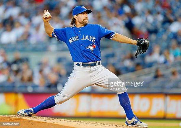 A Dickey of the Toronto Blue Jays in action against the New York Yankees at Yankee Stadium on August 7 2015 in the Bronx borough of New York City The...