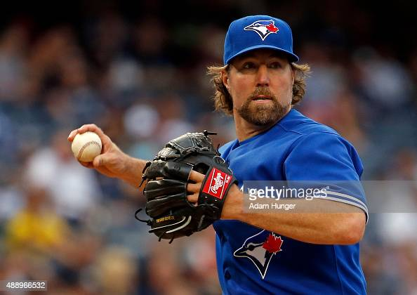 A Dickey of the Toronto Blue Jays in action during the eighth inning against the New York Yankees at Yankee Stadium on September 13 2015 in the Bronx...