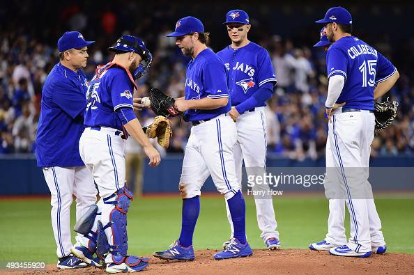 A Dickey of the Toronto Blue Jays is relieved in the second inning against the Kansas City Royals during game four of the American League...