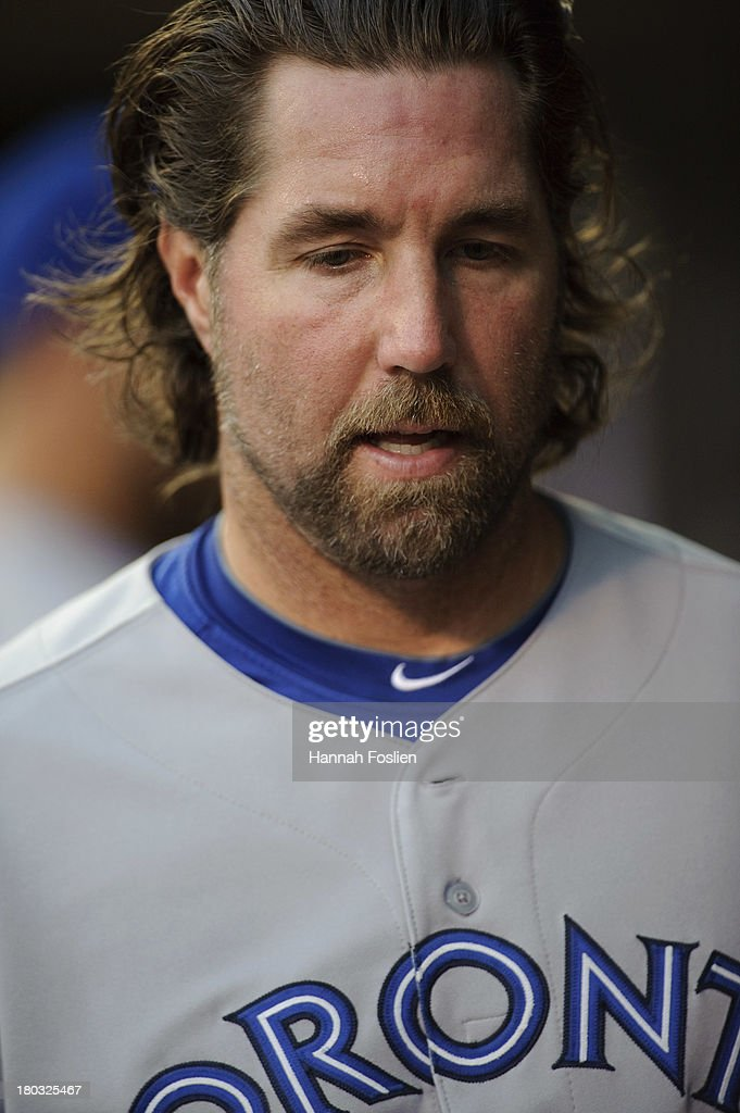 R.A. Dickey #43 of the Toronto Blue Jays looks on before the game against the Minnesota Twins on September 6, 2013 at Target Field in Minneapolis, Minnesota.