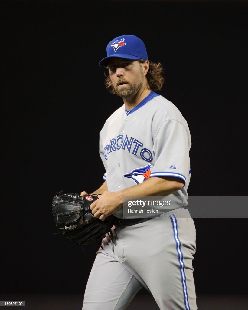 R.A. Dickey #43 of the Toronto Blue Jays looks on during the game against the Minnesota Twins on September 6, 2013 at Target Field in Minneapolis, Minnesota.