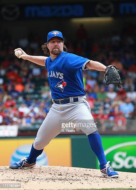 A Dickey of the Toronto Blue Jays pitches against the Texas Rangers at Rangers Ballpark in Arlington on June 15 2013 in Arlington Texas