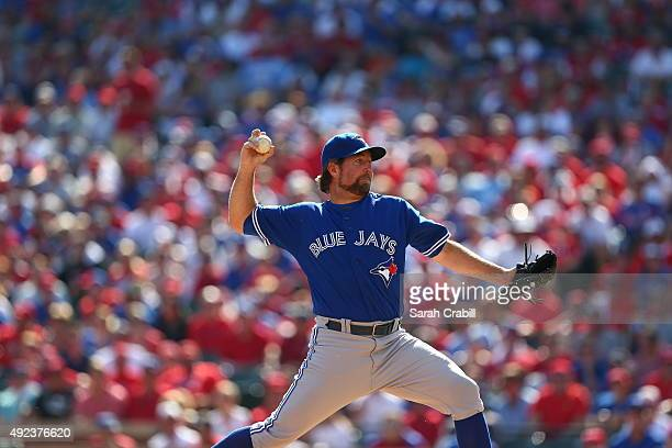 A Dickey of the Toronto Blue Jays pitches during Game 4 of the ALDS against the Texas Rangers at Globe Life Park on Monday October 12 2015 in...
