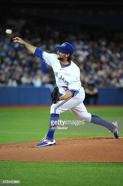 A Dickey of the Toronto Blue Jays pitches during the game against the Tampa Bay Rays at the Rogers Centre on Monday April 13 2015 in Toronto Ontario...