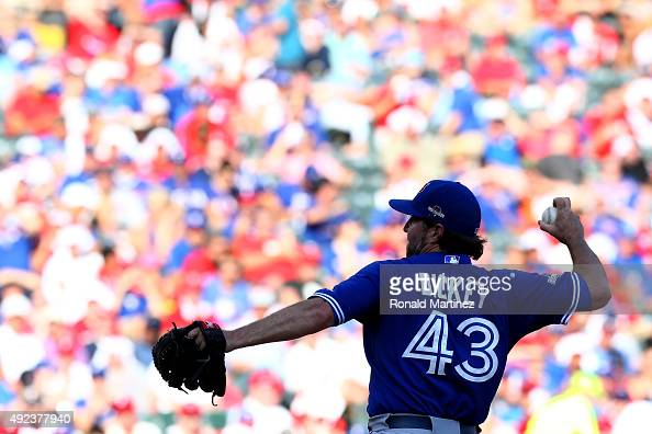 A Dickey of the Toronto Blue Jays pitches in the fifth inning against the Texas Rangers in game four of the American League Division Series at Globe...