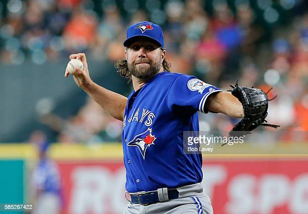 A Dickey of the Toronto Blue Jays pitches in the first inning against the Houston Astros at Minute Maid Park on August 2 2016 in Houston Texas