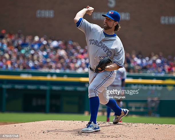 A Dickey of the Toronto Blue Jays pitches in the first inning during a MLB game against the Detroit Tigers at Comerica Park on July 4 2015 in Detroit...
