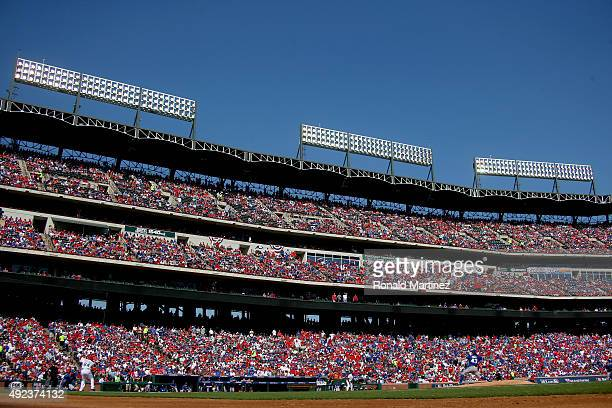 A Dickey of the Toronto Blue Jays pitches in the first inning to Prince Fielder of the Texas Rangers in game four of the American League Division...