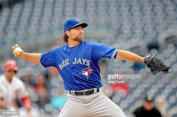 A Dickey of the Toronto Blue Jays pitches in the second inning against the Washington Nationals at Nationals Park on June 2 2015 in Washington DC