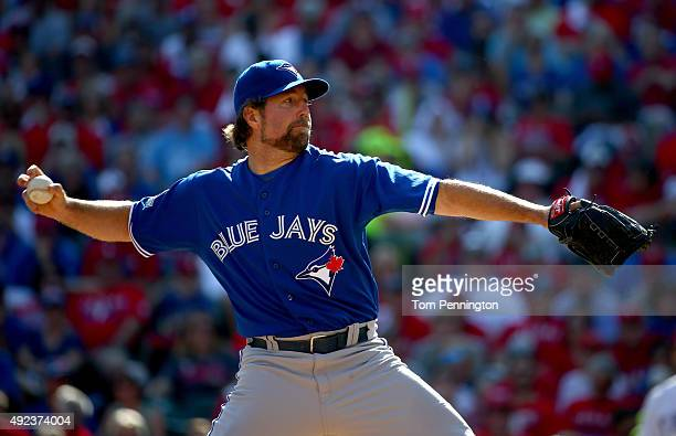 A Dickey of the Toronto Blue Jays pitches in the second inning against the Texas Rangers in game four of the American League Division Series at Globe...