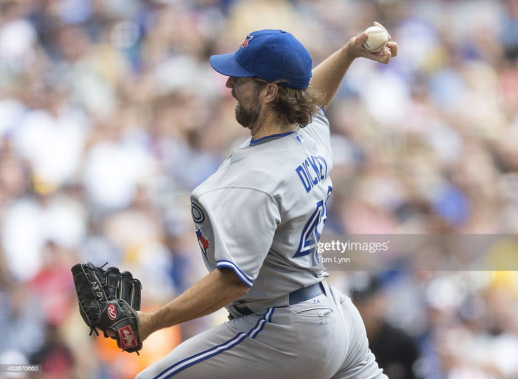 R. A. Dickey #43 of the Toronto Blue Jays pitches to a Milwaukee Brewers batter at Miller Park on August 20, 2014 in Milwaukee, Wisconsin.
