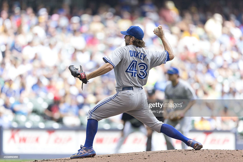 <a gi-track='captionPersonalityLinkClicked' href=/galleries/search?phrase=R.A.+Dickey&family=editorial&specificpeople=221719 ng-click='$event.stopPropagation()'>R.A. Dickey</a> #43 of the Toronto Blue Jays pitches to Carlos Gomez #27 of the Milwaukee Brewers at Miller Park on August 20, 2014 in Milwaukee, Wisconsin.