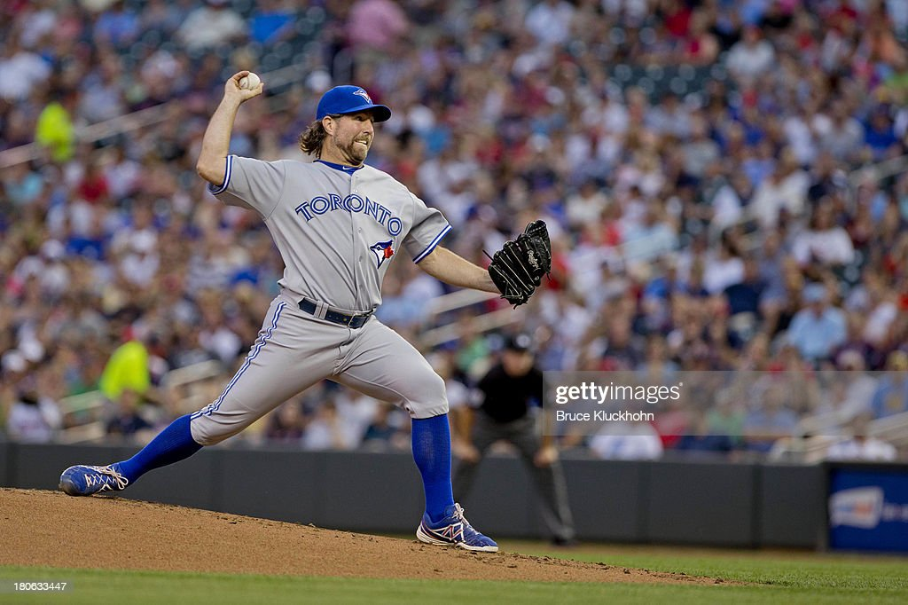 R.A. Dickey #43 of the Toronto Blue Jays pitches to the Minnesota Twins on September 6, 2013 at Target Field in Minneapolis, Minnesota. The Blue Jays win 6-5.