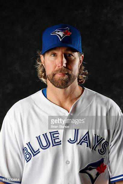 A Dickey of the Toronto Blue Jays poses for a photo during the Blue Jays' photo day on February 27 2016 in Dunedin Florida