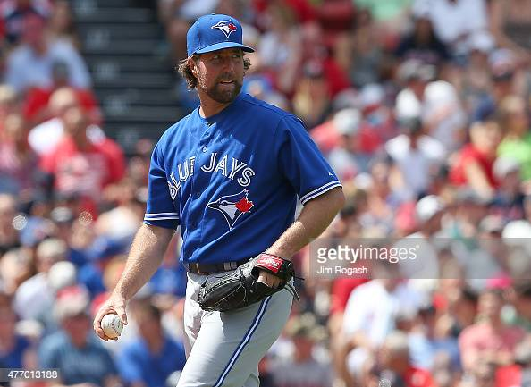 A Dickey of the Toronto Blue Jays reacts during a threerun fourth inning against the Boston Red Sox at Fenway Park on June 13 2015 in Boston...