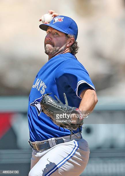 A Dickey of the Toronto Blue Jays throws a pitch against the Los Angeles Angels of Anaheim at Angel Stadium of Anaheim on August 23 2015 in Anaheim...