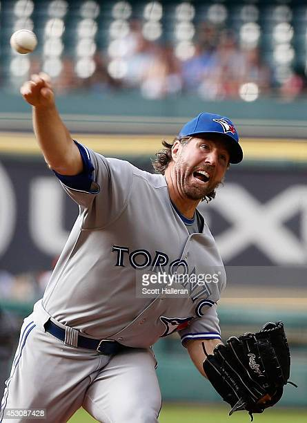 A Dickey of the Toronto Blue Jays throws a pitch during the first inning of their game with the Houston Astros at Minute Maid Park on August 2 2014...