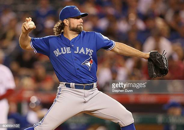 A Dickey of the Toronto Blue Jays throws a pitch in the first inning against the Los Angeles Angels of Anaheim at Angel Stadium of Anaheim on...